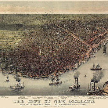 Antique Map of New Orleans (c1885) by Currier and Ives - Archival Reproduction