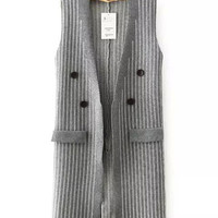 Sleeveless Striped Knitted Long Coat