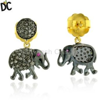 Buy Wholesale Pave Diamond Earrings | Diamond Stud Earrings Manufacturer and Supplier from India.