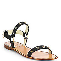 Valentino - Rockstud Leather Double Strap Sandals - Saks Fifth Avenue Mobile