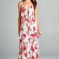 Flirty Boho Ivory Pink Floral Spaghetti Side Lace-up Party Cruise Maxi Jr Dress