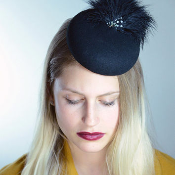 Black Cocktail Hat With Feather ,  Pillbox Fascinator Hat with Feathers ,  Vintage hats , Small Hat , Modern womens Fashion Millinery Hat