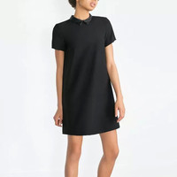 Black Pu Patchwork Peter Pan Collar Mini Straight Dress