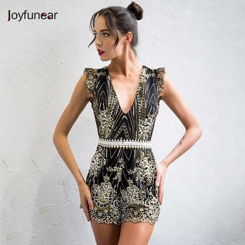 Joyfunear Sexy lace sequin jumpsuit romper Women deep v neck hollow out overalls Summer 2017 long flare sleeve black playsuit