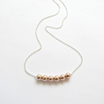 Rose Gold Necklace Minimalist Jewelry Bridesmaid Jewelry Layer Necklace Gold Bead Rose Gold Nugget Everyday necklace Mother of the Bride