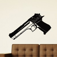 Wall Decal Vinyl Sticker Gun Handgun Weapon Military Decor Sb434