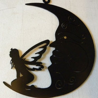 Fairy and Crescent Moon Metal Wall Art Home Decor