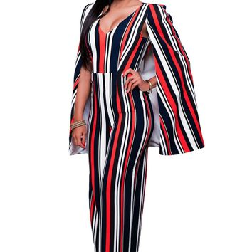 Red Blue Stripes Cape Jumpsuit
