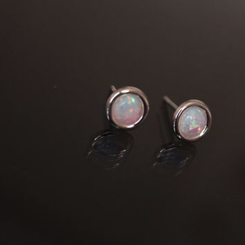 Opal stud Earrings, Sterling silver studs, small stud earrings