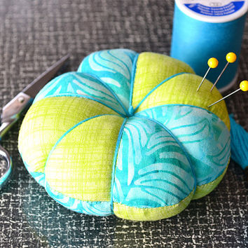 SUMMER BREEZE Designer Tomato Pincushion, flower pincushion, Fabric, needle, Sewing accessory, Quilting tool, Embroidery, Lime, Aqua