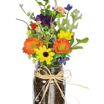 "Mixed Color Artificial Wildflower Arrangement in Glass Jar - 11"" Tall"