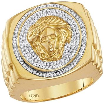 10kt Yellow Gold Men's Round Diamond Gorgon Medusa Ribbed Cluster Ring 1/2 Cttw - FREE Shipping (US/CAN)