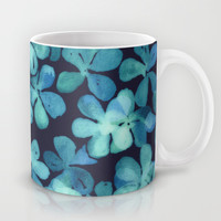 Hand Painted Floral Pattern in Teal & Navy Blue Mug by Micklyn