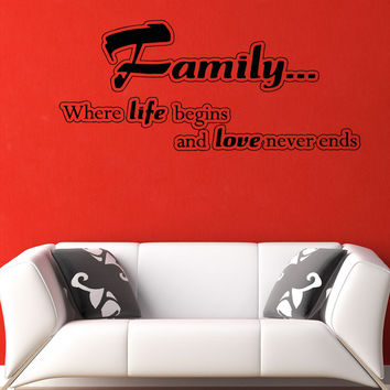 Vinyl Wall Decal Sticker Family Life Begins #5194