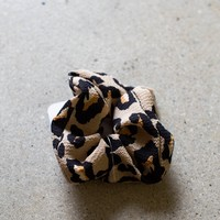 Scrunchie Hair Tie, Coffee Leopard