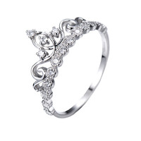 Dainty 925 Sterling Silver Crown Ring / Princess Ring - AZDBR5456DN
