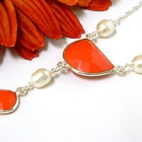 Orange Gemstone Necklace White Pearl Silver Short Elegant Handmade