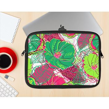 The Vibrant Green & Coral Floral Sketched Ink-Fuzed NeoPrene MacBook Laptop Sleeve