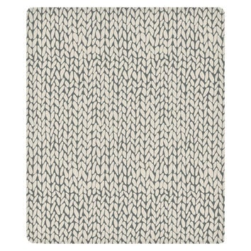 Hand Knit Grey Fleece Throw