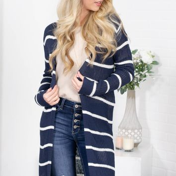 Navy Bay Striped Knit Cardigan