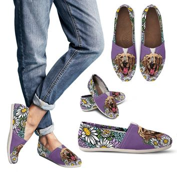 Illustrated Golden Retriever Casual Shoes-Clearance