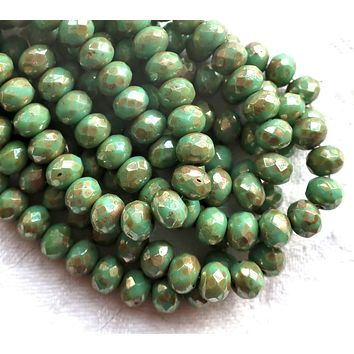 Lot of 25 Czech glass puffy rondelles - Opaque Light Turquoise Green Bronze Picasso faceted rondelle or donut beads - 5 x 7mm C00201