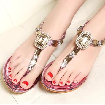 LAVENDER RHINESTONE BOHEMIAN LARGE JEWEL WOMENS SANDALS
