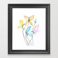 colorful flying butterflies Framed Art Print by Color and Color