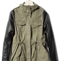 PARKA WITH FAKE LEATHER SLEEVES - MUST HAVE - WOMAN -  United Kingdom