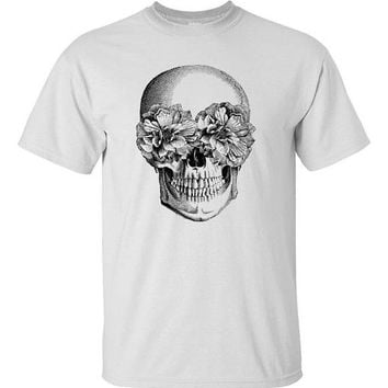 Floral Skull Screen Printed Shirt White S M L