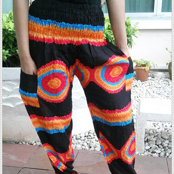 Hippie Colorful Art Printed Yoga Pants Boho Style Funky Massage Gypsy Thai Pantalon Plus Size Rayon Aladdin Clothing Beach Tie Dye Design