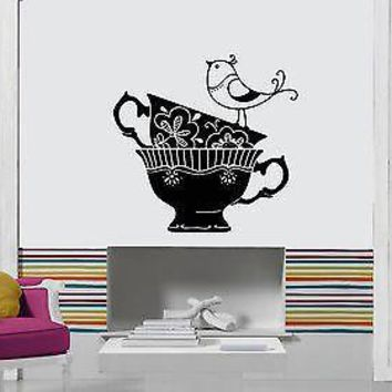 Wall Stickers Vinyl Decal Coffee Tea Cups With Bird Decor For Kitchen Unique Gift (z1859)