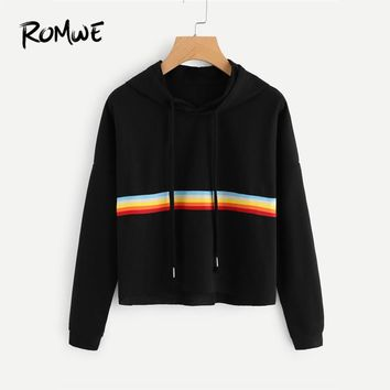 ROMWE Drawstring Contrast Striped Raw Hem Crop Hoodie Black Ladies Spring Autumn Hooded Long Sleeve Female Casual Sweatshirt