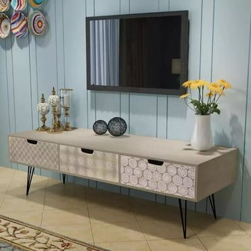 VidaXL TV Cabinet With 3 Drawers 120x40x36 Cm Grey Living Room Furniture TV Stand High Quality Assembly Furniture
