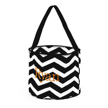 Monogrammed Personalized HALLOWEEN Trick or Treat Bag Basket Candy Bag Black Chevron Embroidered Name Initials
