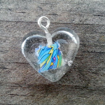 Psychedelic Necklace Mini Heart Light Blue Striped - LSD Blotter Art Necklace - Rainbow Fractal - Trippy - Hippie - Festival