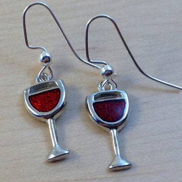 Wine Glass Earrings - Wine Earrings - Girls Night Out Earrings - Petite Earrings - Wine Glass Charm Earrings - Silver and Red