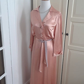 "1930s Peach Satin Robe, Dressing Gown, Full Length, Notched Collar, Size Medium, 26""W"