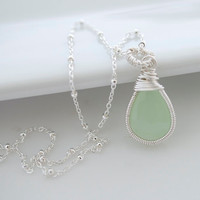 Green Chalcedony Necklace Wire Wrapped Necklace by Jewels2Luv