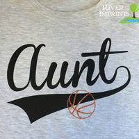 BALL AUNT cursive, with your choice of glitter ball -- fitted, regular, or long sleeve