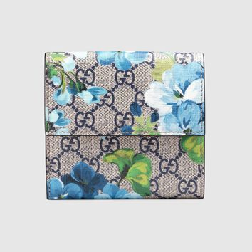 GUCCI BLUE BLOOMS SUPREME WALLET RED LEATHER CANVAS MONOGRAM FRENCH FLAP GG MINT