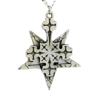 Inverted Cross Pentagram Necklace Occult Satan Metal