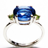 "Fluorite, fluorite ring, fluorite accent ring, fluorite and peridot, blue green, s 7 1/2   ""Good Vibrations"""
