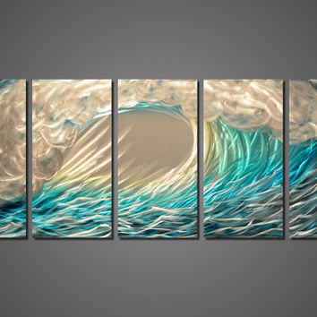 Modern Abstract Painting Metal Wall Art Sculpture Ocean Wave