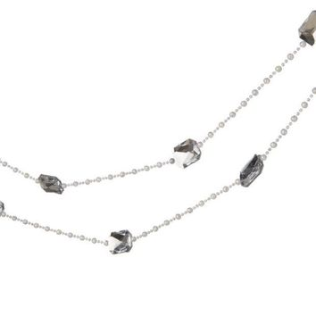 MDIGMS9 6' Snow Drift Silver Jewel and White Beaded Christmas Garland