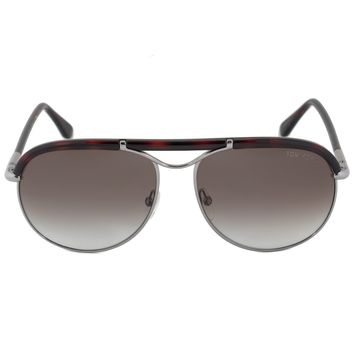 Tom Ford Marco Aviator Sunglasses FT0235 10F 59 | Palladium and Red Havana Frame | Brown Gradient Lenses