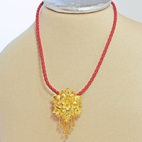 Red Leather Necklace, Gold Ornate Pendant, Woven Leather, Flower pendant, Gift for her, Red color lovers, Gold findings