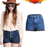 2016 Trending Fashion Women Slim High Waisted Jeans Shorts Trousers Pants _ 8134