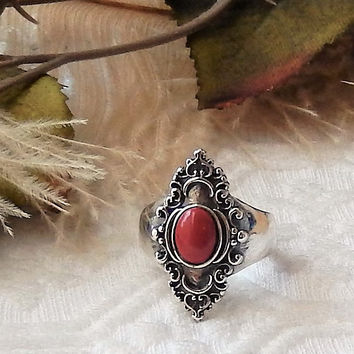 Artisan Crafted One of a Kind .925 Sterling Silver & Coral Ring Size 8