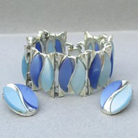 Big 1950's Chunky Modernist Blue Thermoset Wide Silver Tone Bracelet & Earrings Set